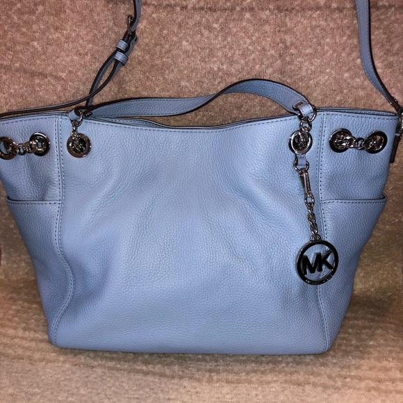 b5b9ec408582 Michael Kors Bags | Jet Set Chain Leather Handbag Blue | Poshmark